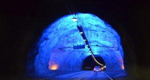 Tunnel bij Laerdal in Noorwegen